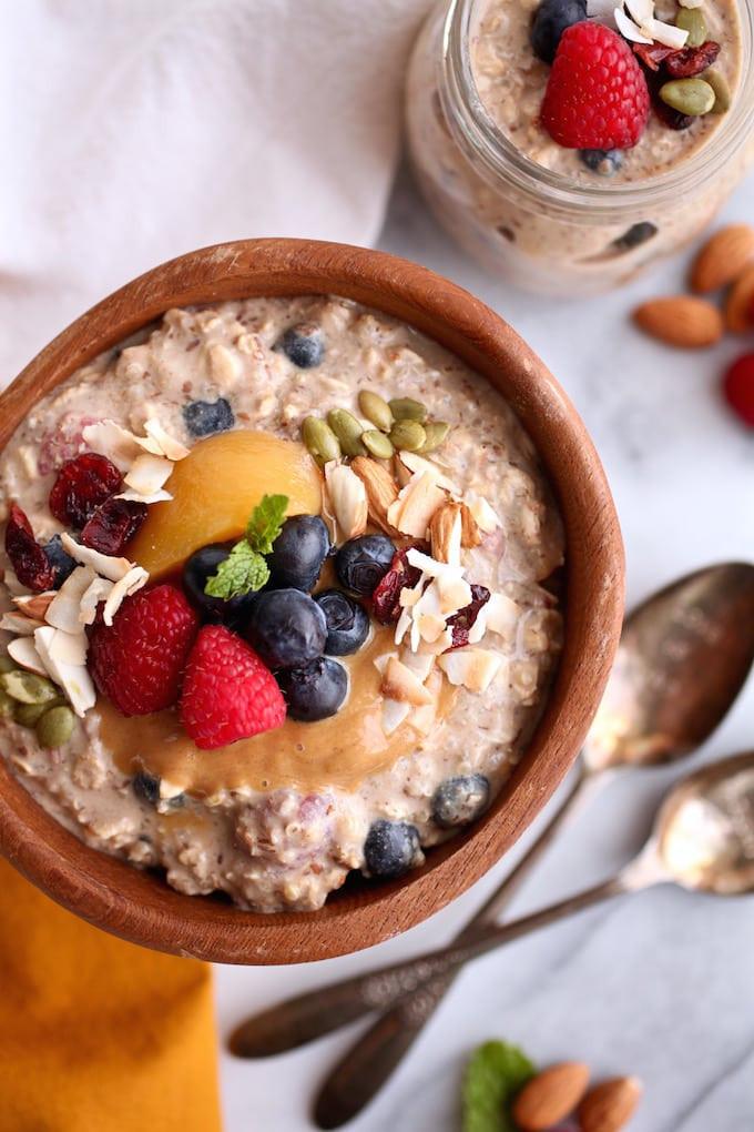 Vegan Protein Overnight Oats  Fruit Filled Protein Overnight Oats & Quinoa