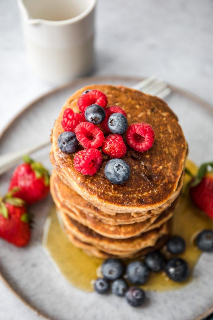 Vegan Protein Powder Pancakes  Wholesome Vegan Protein Pancakes