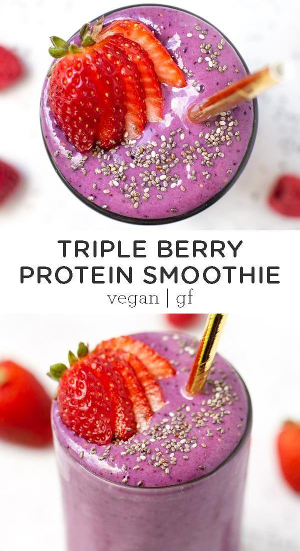 Vegan Protein Smoothie Recipes  Vegan Triple Berry Protein Smoothie Recipe