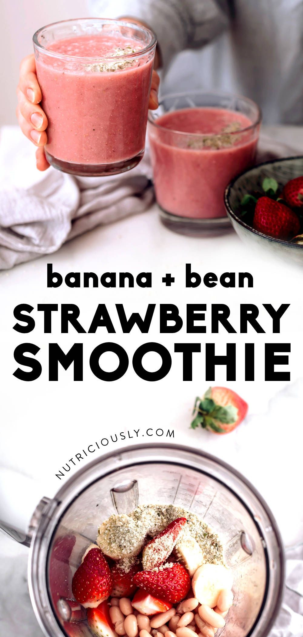 Vegan Protein Smoothie Without Powder  Vegan Strawberry White Bean Smoothie