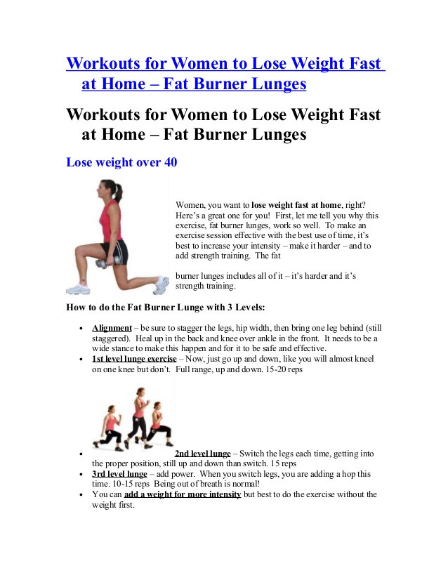 Weight Loss Exercises At Home For Women  Workouts for women to lose weight fast at home fat burner