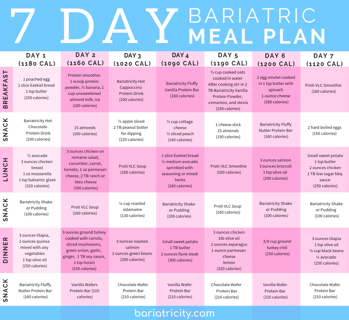 Weight Loss Surgery Meal Plan  Bariatric Meal Planning Guide [7 Day Sample Meal Plan